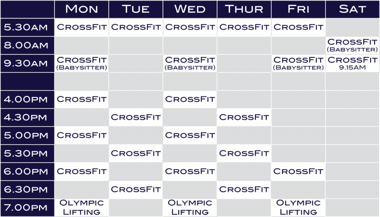H1 CrossFit Silverdale Timetable